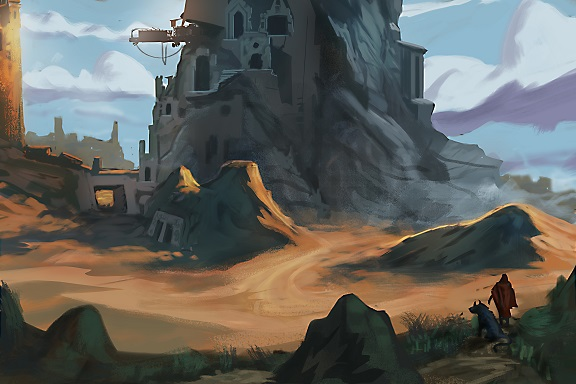 Traveler and his dog walking up to an ancient civilization fortress in a rocky desert - digital fantasy landscape painting