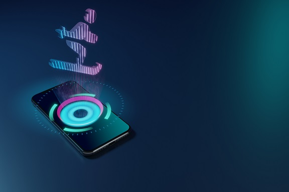 3D rendering smartphone with display emitting neon violet pink blue holographic symbol of skiing figure icon on dark background with blurred reflection